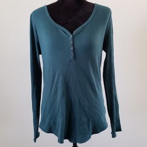 B2G1 SO Forest Green Ribbed Perfect Henley
